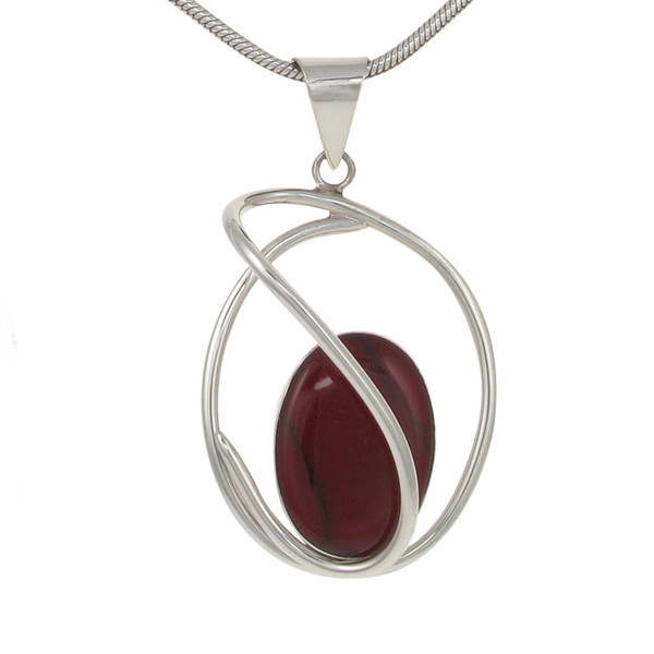 "Sterling Silver and Formed Red Jasper Swirl Pendant with 18 - 20"" Silver Chain"