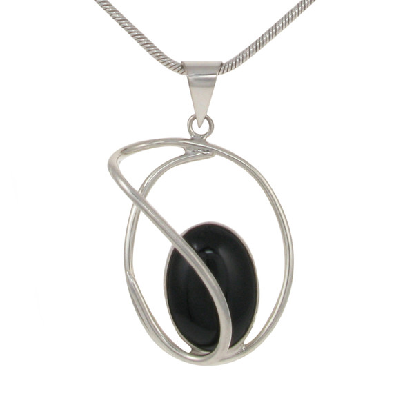 Sterling Silver and Black Agate Swirl Pendant without Chain