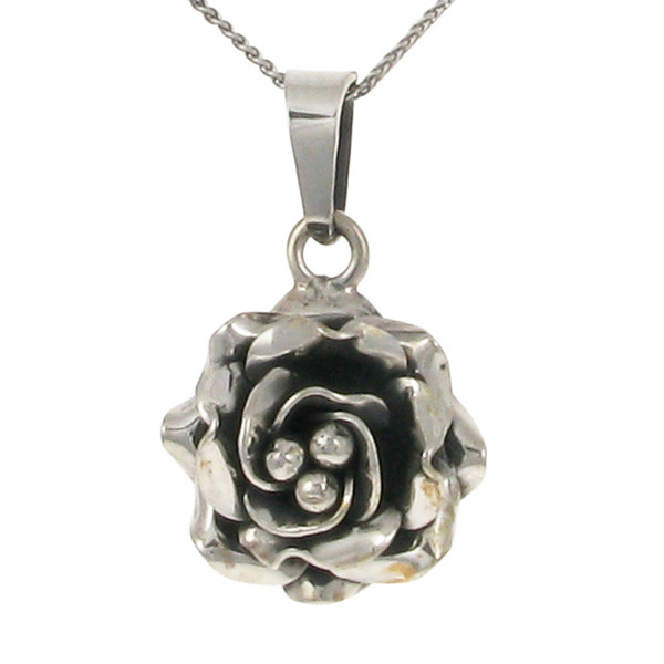 Small silver rose pendant without Chain