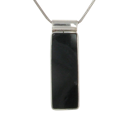 Sterling Silver and Black Agate Oblong Drop Pendant