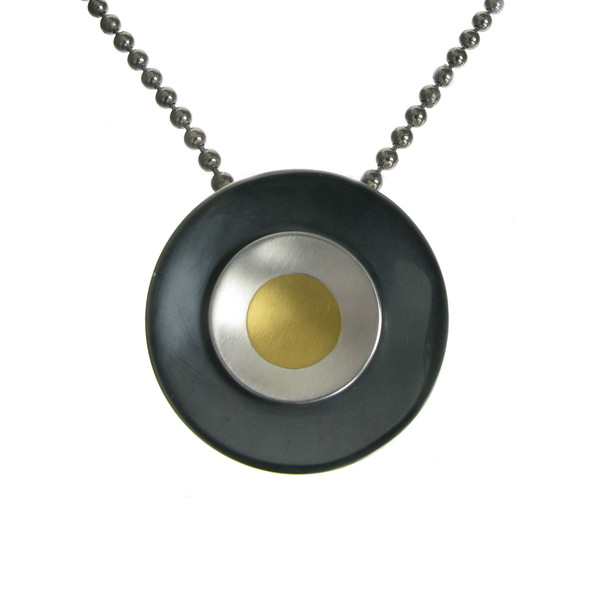 "Oxidised Sterling Silver and Gold Rings Pendant with 16 - 18"" Oxidised Silver Chain"