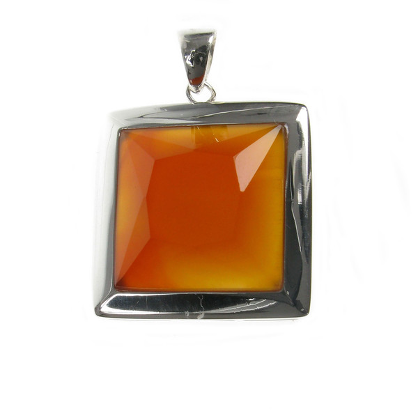 "Sterling Silver and Red Carnelian Square Pendant with 16 - 18"" Silver Chain"