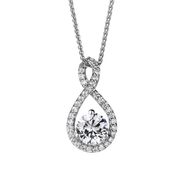 "Sterling Silver and CZ Looped Bail Teardrop Pendant with 16 - 18"" Silver Chain"