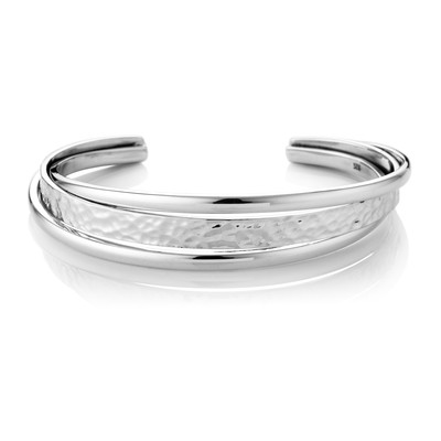 Sterling Silver Round Edge Hammered Spring Bangle