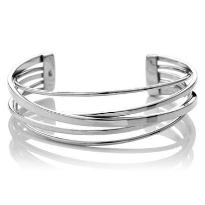 Sterling Silver Flattened Band Cuff Bangle