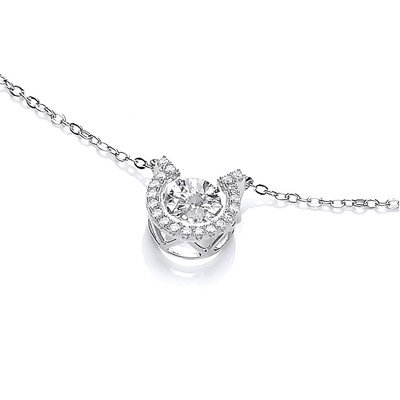 Dancing Cubic Zirconia Horseshoe Necklace