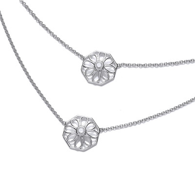 Double Octagon Victorian Style Silver Necklace