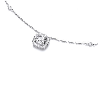 Round Suround Silver and Cubic Zirconia Necklace