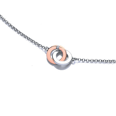 Silver and Rose Gold Linked Rings Necklace