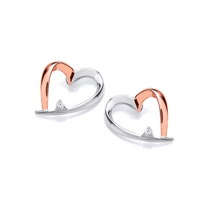 Silver and Rose Gold Happy Heart Earrings