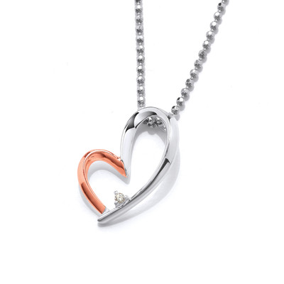 Silver and Rose Gold Happy Heart Pendant