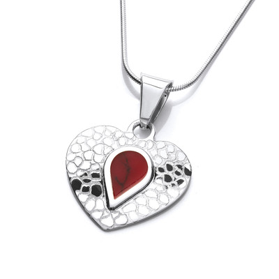 Etched Silver and Red Jasper Heart Pendant