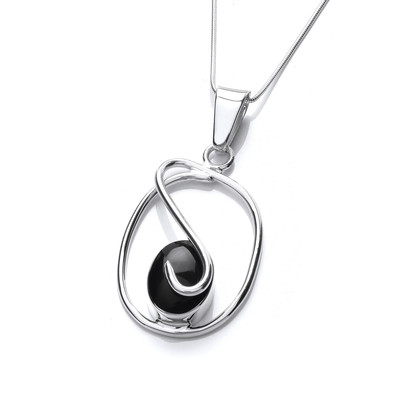 Sterling Silver Caged Black Agate Pendant