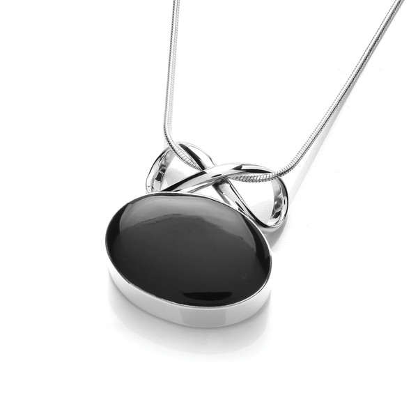 "Sterling Silver and Black Agate Oval and Bow Pendant with 16 - 18"" Silver Chain"