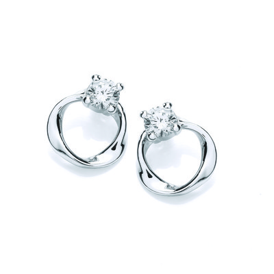 Silver Curve & Cubic Zirconia Solitaire Earrings