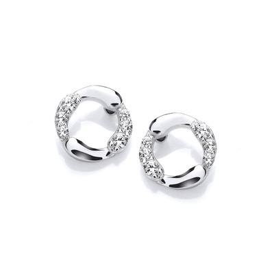 Silver & Cubic Zirconia Simple Circle Earrings