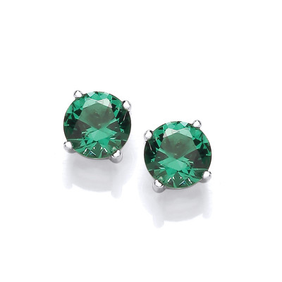 Simple Emerald Cubic Zirconia Solitaire Stud Earrings