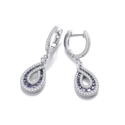 Silver & Tanzanite Cubic Zirconia Glamour Earrings