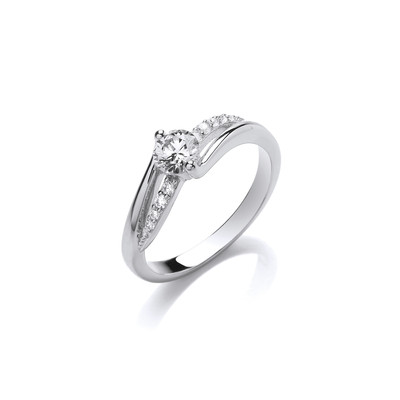 Silver & Cubic Zirconia Solitaire Twist Ring