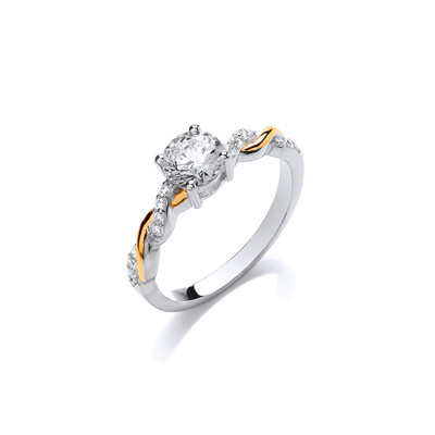 Silver, Gold & Cubic Zirconia Solitaire Twist Ring