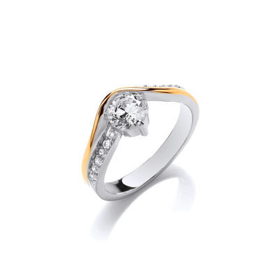 Silver, Gold & Cubic Zirconia Solitaire Crossover Ring