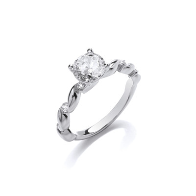 Silver & Cubic Zirconia Solitaire in a Twist Ring