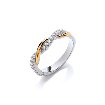 Silver, Gold & Cubic Zirconia Slim Twist Ring