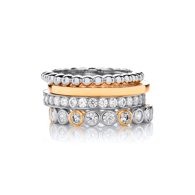 Silver, Gold & Cubic Zirconia Mix & Match Stacking Rings