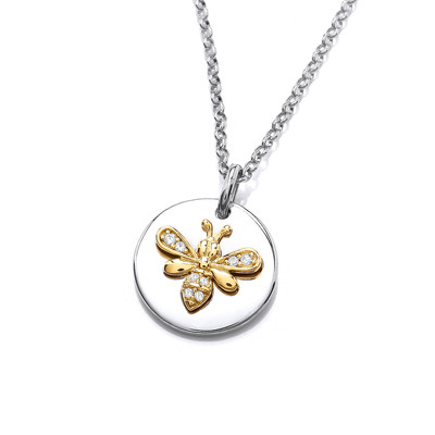 Silver, Gold & Cubic Zirconia Disc Bee Necklace