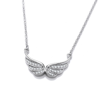 Silver & Cubic Zirconia Angel Wings Necklace