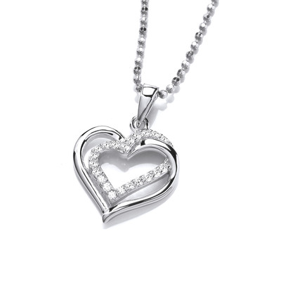 Silver & Cubic Zirconia Entwined Heart Pendant
