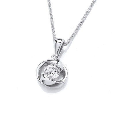 Silver & Cubic Zirconia Curves Pendant