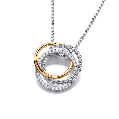 Silver, Gold & Cubic Zirconia Circles Pendant