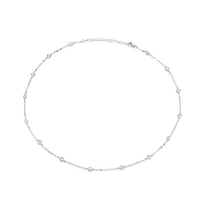 Modern Silver & Cubic Zirconia Solitaires Necklace