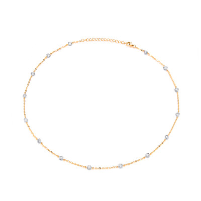 Modern Silver, Gold & Cubic Zirconia Solitaires Necklace